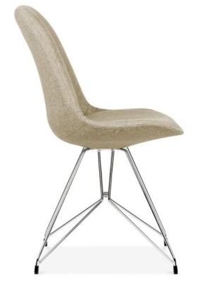 Geometric Chairs Beige Fabric Side View