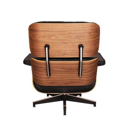 Eames Louinge Chair Black Leather And Walnut Rear