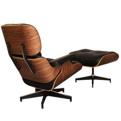 Eames Lounge Chair Black Leather And Walnut Rear Angle