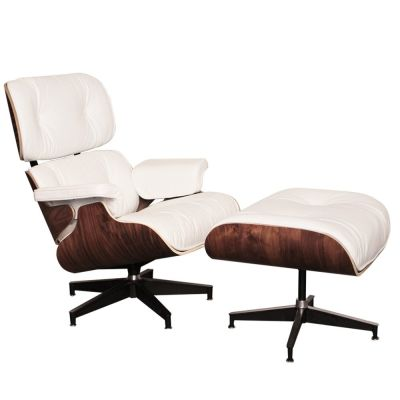 White Leather And Walnut Eames Lounge Chair