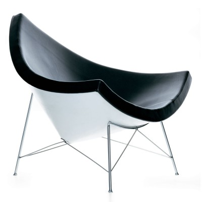 George Nelson Inpsired Coconut Chair Black Leather