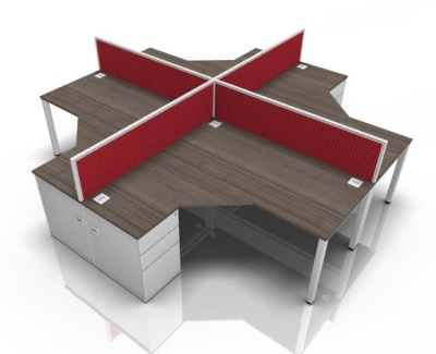 Avalon Bench Four Person Combination With Ddesk Height Pedestals
