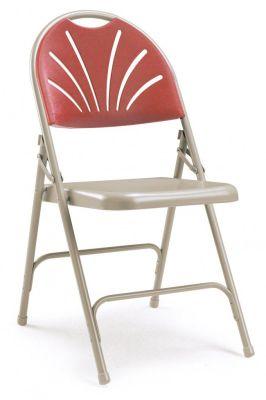 Eureo Folding Metal Chair Burgundy Back