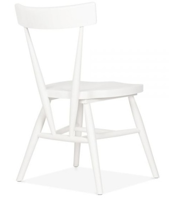 Trapeze Wooden White Dining Chair Rear Angle