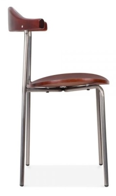 Alisa Dining Chair With Gun Metal Frame Side View