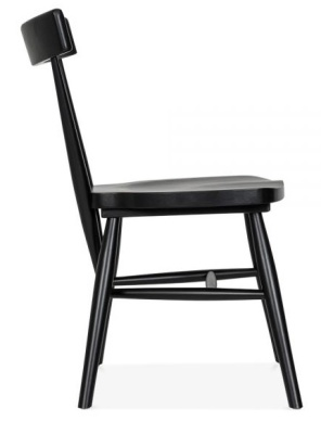 Joshua Wooden Dining Chair In Black Side View