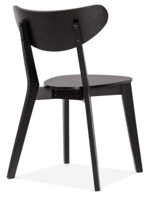 Joshua Wooden Dining Chair In Black Rear View