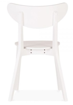 Joshua Wooden Dining Chair In White Shown From The Rear