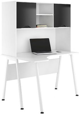 UClic Aspire Cdvorner Desks With Overhead Cupboarssd With High Gloss Black Doors
