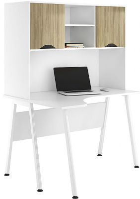 UCLIC Refelections Corner Desk With Overhead Cuipboard And Light Olive Doorsc
