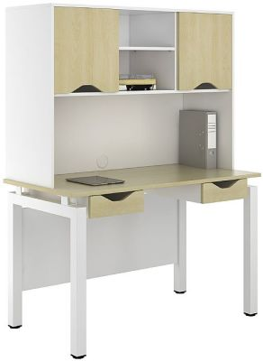 UCLIC Engage Sylvan Two Darwer Desk With Overhead Cupboards