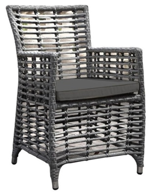 Santiago Rattan Armchairs With Brown Seat Cushion