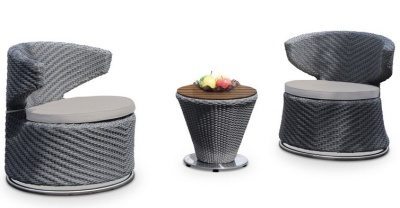 Madrid Outdoor Swivel Dining Set With Light Grey Seat Cushions