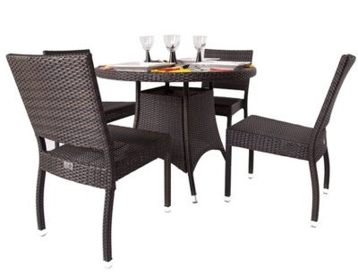 Orion Four Person Dining Set With Circular Ttable