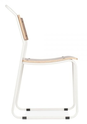 Bauhaus Chair With A White Frame Side View