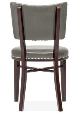 Chicago Grey Leather Dining Chair Rear View