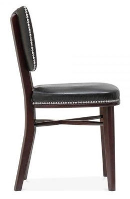 Chicago Black Leather Dining Chair Side View