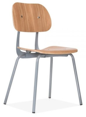 Dice Dining Chair With A Natural Seat And Back And Grey Frame Front Angle