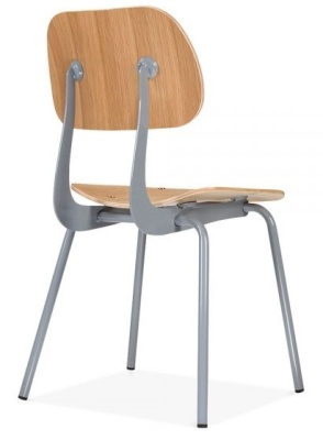 Dice Deigner Dining Chair In Natural With A Grey Frame Rear Angle