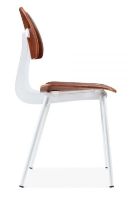 Dsice Chair With A White Frame Walnut Seat And Back Side View