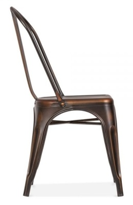Xavier Pauchard Dining Chair In An Antiique Copper Finish Side View