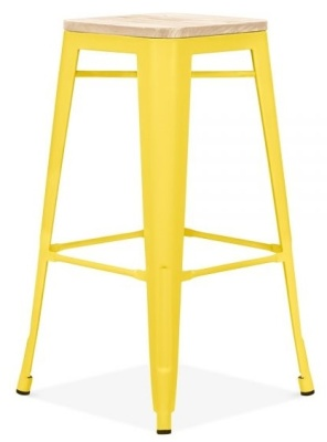 Xavier Pauchard High Stool In Yellow With A Wooden Seat 3