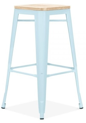 Xavier Pauchard High Stool In Pastel Blue With A Wooden Seat 3