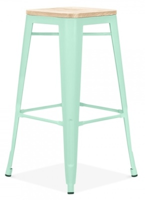 Xavier Pauchard Stool In Peppermint With A Wooden Seat 3