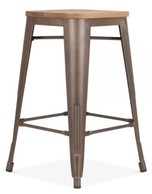Xavier Pauchard High Stool With A Vintage Finish And Wooden Seat 3