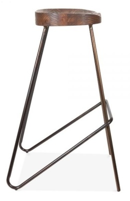Cadiz Industrial High Stool With A Gun Metal Frame And Wooden Seat 3