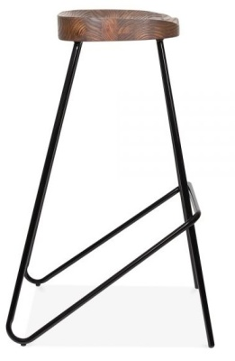 Cadiz High Stool With A Black Frame And Wooden Seat Side View