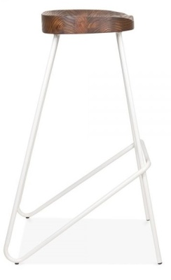 Cadiz High Stool With A White Frame And Wooden Seat 4