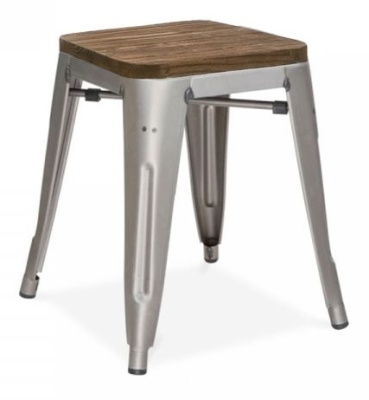 Xavier V4 Low Stool In A Gun Metal Finish With Aq Wooden Seat Pad 1