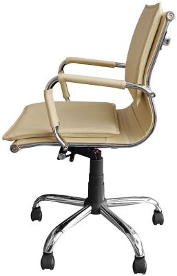 Encore Cream Leather Executive Chair Side View