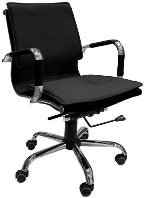 Encore Blacxk Leather Chair Angle