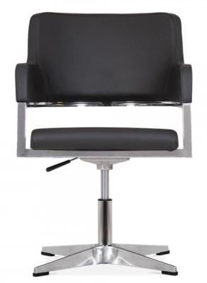 Polar Chair In Black Leather Front Face