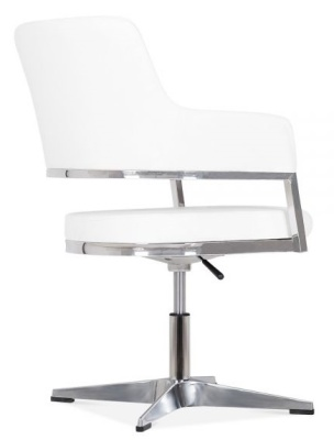 Polar White Leather Conference Chair Rear Angle