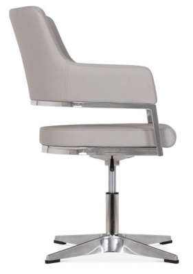 Polar Grey Leather Conference Chair Side View