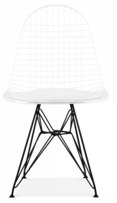 Eames Dkr Chair Win White With A Black Frame Front View