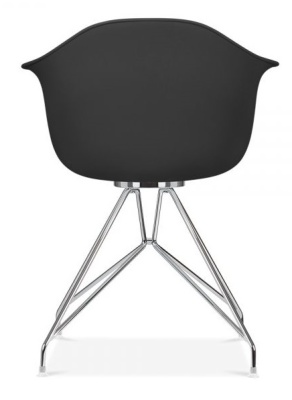 Memot Deigner Chair In Black With A Chrome Frame Front View