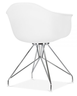 Memot Chair With A White Shell Rear Angle