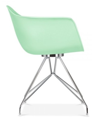 Memot Designer Chair With Pastel Green Shell Side View