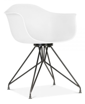 Memot Chair With A White Shell And Black Frame Front Angle