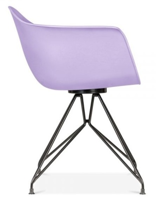 Memot Chair With A Lavender Shell And Black Frame Side View