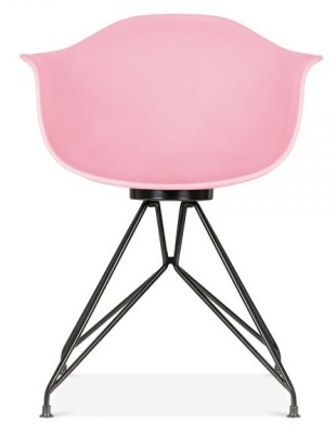Memot Chair With A Pink Shell And Black Frame Front View