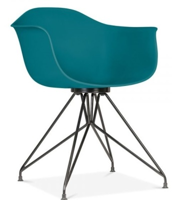Memot Chair With A Teal Shell And Black Frame Front Angle View