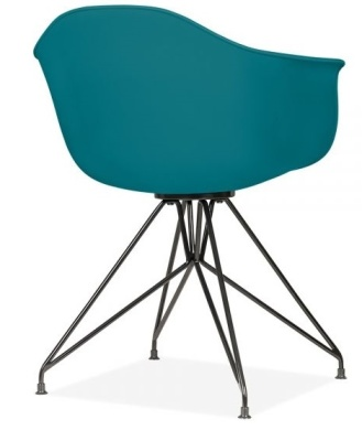 Memot Chair With A Teal Shell And Black Frame Rear Angle