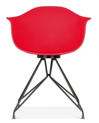 Memot Chair With A Red Shell And Black Frame Feront View