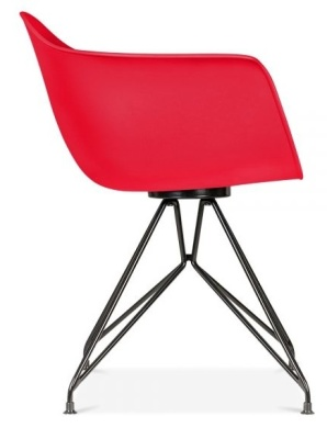 Memot Chair With A Red Shell And Blacxk Frame Side View
