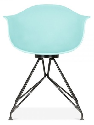 Memot Chair With A Light Blue Shell And Black Frame Front View